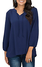 Cruel Girl Women's Navy Blue 3/4 Sleeve with Yoke Detail Fashion Top