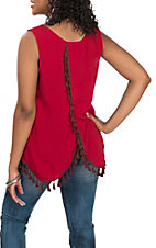 Cruel Girl Women's Red Cross Back Tassel Tank Fashion Shirt