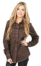 Cruel Women's Brown with Pink Threading Long Sleeve Western Shirt