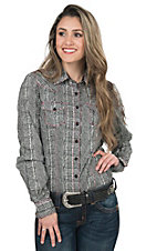 Cruel Women's Navy & White Snake Print Long Sleeve Western Shirt