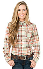 Cruel Women's Coral, Mint Green, White, and Brown Plaid Long Sleeve Western Shirt