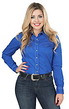 Cruel Women's Royal Blue Long Sleeve Western Snap Shirt