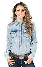 Cruel Women's Denim Acid Wash with Red and Silver Embroidery Long Sleeve Western Shirt