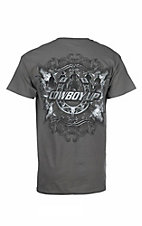 Cowboy Up Men's Charcoal with Screen Print Logos Short Sleeve T-Shirt