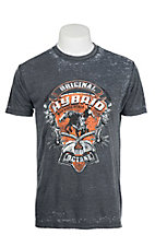 Cowboy Up Grey with Original Hybrid Screen Print Short Sleeve T-Shirt