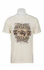 Cowboy Up Men's Cream with Buck Wild Screen Print Short Sleeve T-Shirt