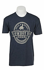Cowboy Up Men's Navy with Grey Logo Short Sleeve T-Shirt