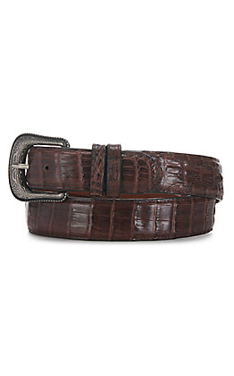 Cavender's Men's Cigar Brown Caiman Belly Belt