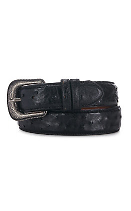 Cavender's Men's Full Quill Black Ostrich Belt