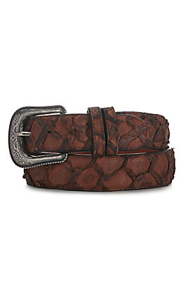 Cavender's Men's Matte Chocolate Pirarucu Fish Belt