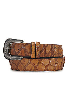 Cavender's Men's Tan Hybrid Pirarucu Fish Belt