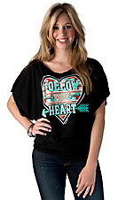 Bella Women's Black with Red and Mint Aztec Heart Follow Your Heart Short Dolman Sleeve Tee