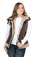 Cripple Creek Women's Chocolate Faux Sherpa Aviator Vest