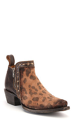 Cavender's by Old Gringo Women's Dark Brown and Honey Leopard Print Snip Toe Western Bootie