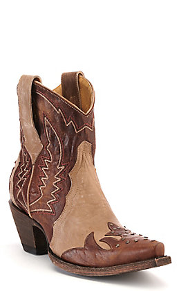 Cavender's by Old Gringo Women's Thali Bone and Brass Brown with Studs Snip Toe Western Booties
