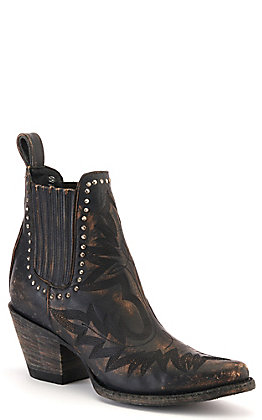 Cavender's by Old Gringo Rustic Black and Beige with Studs J-Toe Western Booties