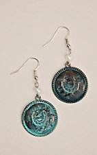 Silver Strike Patina Circle with Horseshoe and Pearl Bead Hook Earrings