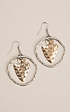 Silver Strike Silver Hoop with Gold Hammered Arrowhead Hook Earrings