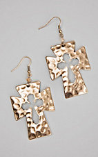 Silver Strike Hammered Gold Cross with Cutout Design Dangle Earrings