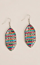 Silver Strike Multi Serape Print with Aztec Cutouts Hook Earrings
