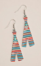 Silver Strike Multi Serape Print with Turquoise Stone Teepee Hook Earrings