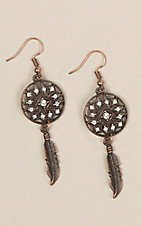 Silver Strike Antique Copper Crystal and Accented Round Lattice Earrings