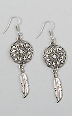 Silver Strike Antique Silver Round Lattice with Feather Earrings