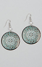 Silver Strike Patina Circle Pearl Bead Hook Earrings