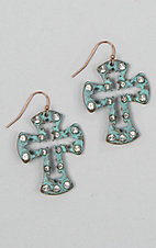 Silver Strike Patina Crystal Hollowed Out Cross Earrings