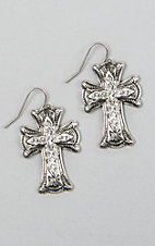 Silver Strike Antique Silver Crystal Scalloped Cross Earrings