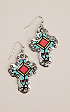 Silver Strike Silver Concho Cross with Red and Turquoise Aztec Design Hook Earrings