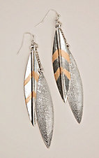 Silver Strike Silver and Gold Double Leaf Hook Earrings
