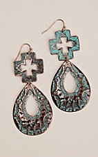 Silver Strike Patina Cross Drop Hook Earrings