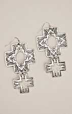 Silver Strike Silver Engraved Graduated Cross Hook Earrings