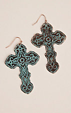 Patina Cross with Scrolled Detailing Earrings