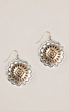 Silver Strike Silver and Gold Scalloped Conchos with Engraving Hook Earrings