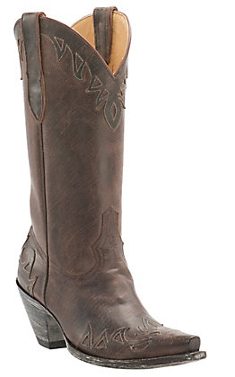 Cavender's by Old Gringo Women's Vintage Chocolate Goat Wingtip Snip Toe Western Boots