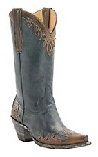Cavender's by Old Gringo Women's Kilauea Blue & Vintage Rust Goat Wingtip Snip Toe Western Boots