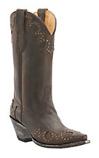Cavender's by Old Gringo Women's Horse Chocolate with Studs Snip Toe Western Boots