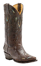 Cavender's by Old Gringo Women's Vintage Brown Goat with Turquoise Inlay Snip Toe Western Boots