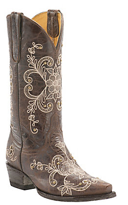 Cavender's by Old Gringo Women's Vintage Chocolate Goat with Cream Floral Embroidery Snip Toe Western Boots
