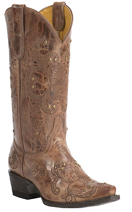 a7085f3afd0 Cavender's by Old Gringo Women's Vintage Tan Goat with Floral Embroidery  Snip Toe Western Boots