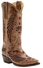 Cavender's by Old Gringo Women's Vintage Cognac Goat with Wing Inlay Snip Toe Western Boots