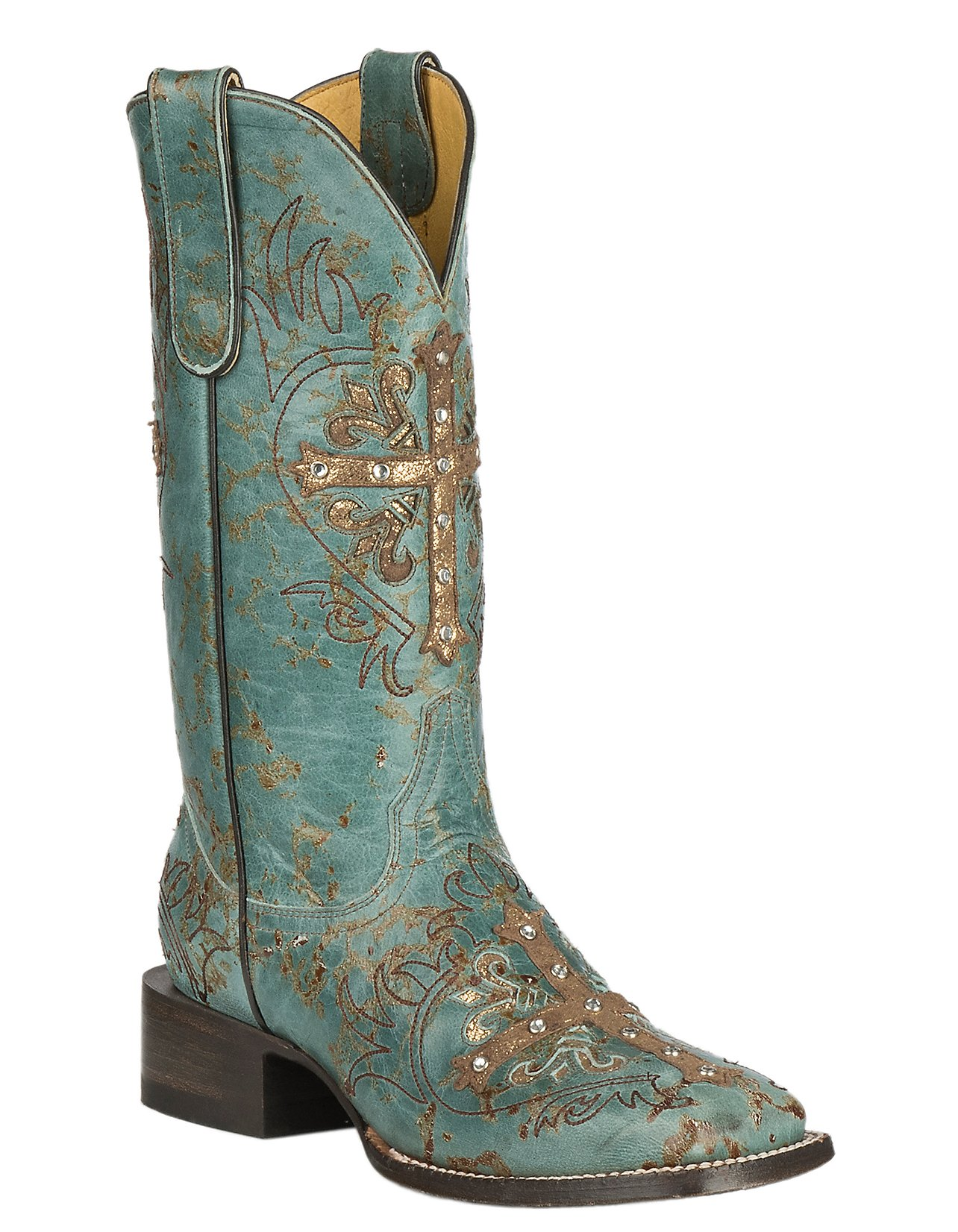 Cavender\u0027s by Old Gringo Women\u0027s Turquoise Fango Goat w/ Cross Overlay  Western Square Toe Boots