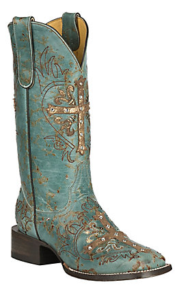Cavender's by Old Gringo Women's Turquoise Fango Goat with Cross Overlay Western Square Toe Boots