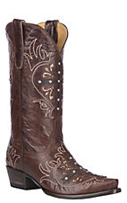 Cavender's By Old Gringo Women's Brass Brown w/ Cross and Glitter Inlays Western Snip Toe Boots