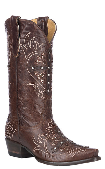 35a3dc61c3e Cavender's By Old Gringo Women's Brass Brown with Cross and Glitter Inlays  Western Snip Toe Boots