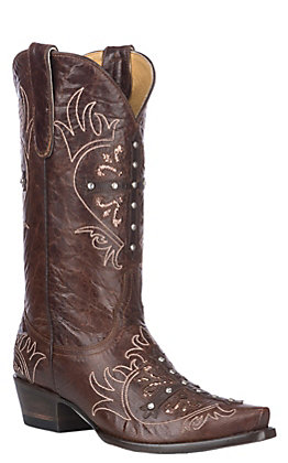 Cavender's By Old Gringo Women's Brass Brown with Cross and Glitter Inlay Snip Toe Western Boot