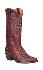 Cavender's By Old Gringo Women's Red w/ Cross and Glitter Inlays Western Snip Toe Boots