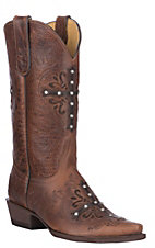 Cavender's By Old Gringo Women's Deep Tan w/ Cross Western Snip Toe Boots